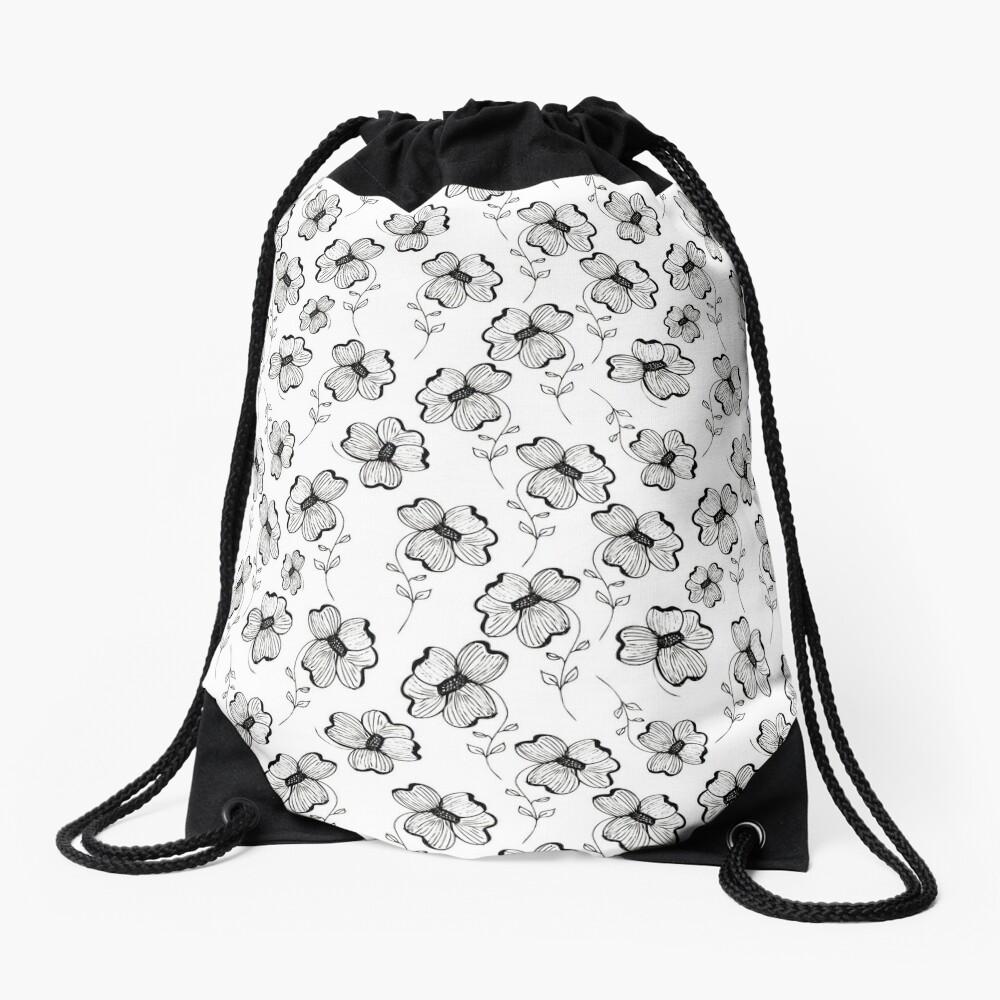Monochrome Pretty Pansy Drawstring Bag