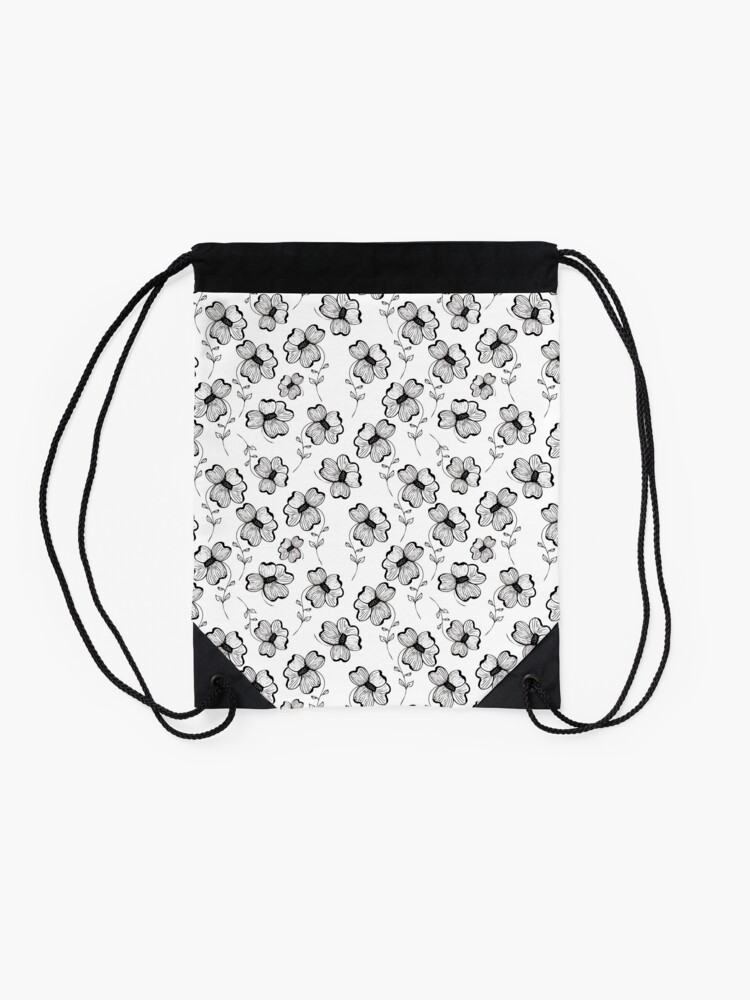 Alternate view of Monochrome Pretty Pansy Drawstring Bag