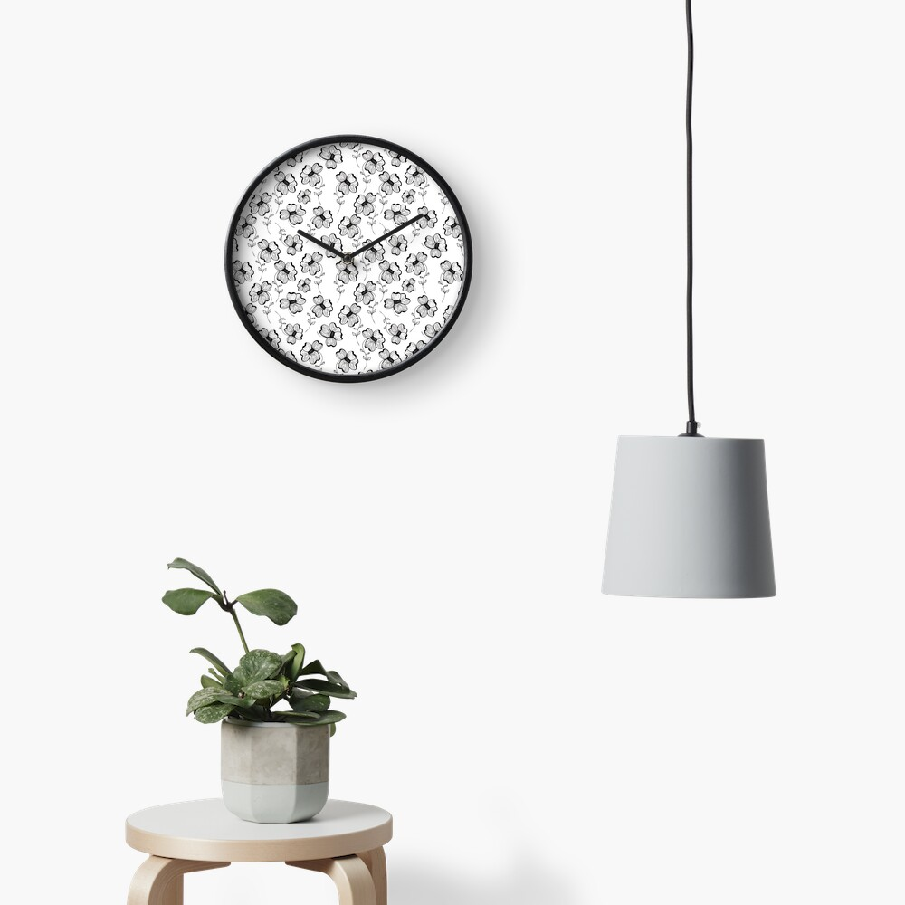 Monochrome Pretty Pansy Clock