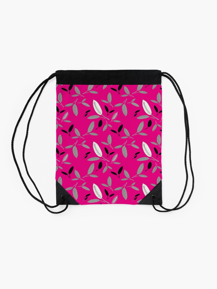 Alternate view of Fushcia Shades of Leaf Drawstring Bag