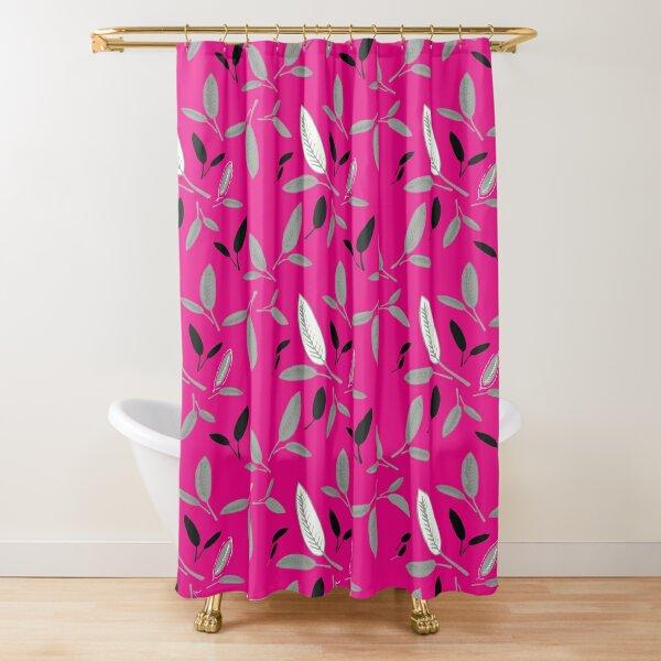 Fushcia Shades of Leaf Shower Curtain