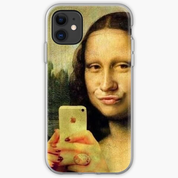 But first let me take a selfie - Funny Mona Lisa selfie iPhone Soft Case