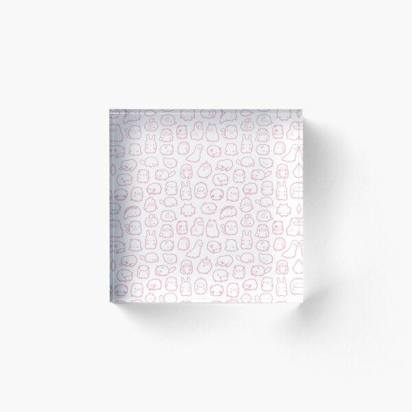 Mini Animals Pattern in Pastel Pink Acrylic Block
