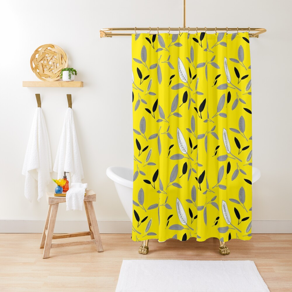 Yellow Shades of Leaf Shower Curtain