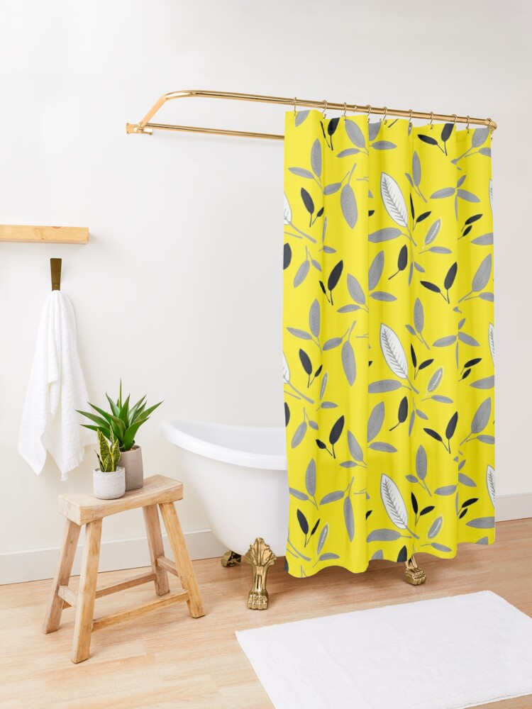 Alternate view of Yellow Shades of Leaf Shower Curtain