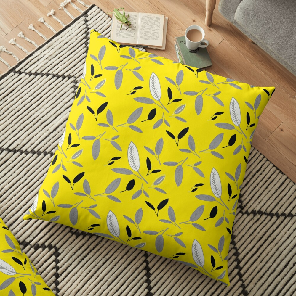 Yellow Shades of Leaf Floor Pillow