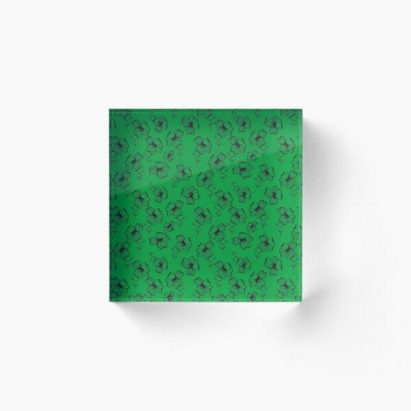 Bright Green Pretty Pansy Acrylic Block