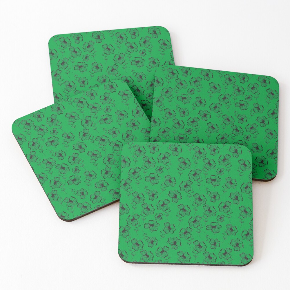 Bright Green Pretty Pansy Coasters (Set of 4)