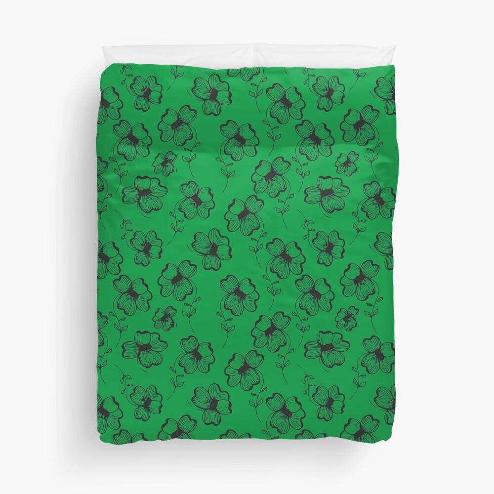 Bright Green Pretty Pansy Duvet Cover