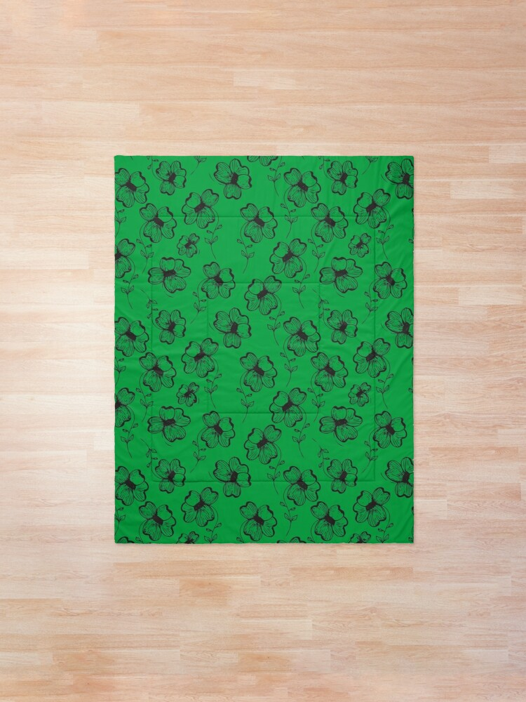 Alternate view of Bright Green Pretty Pansy Comforter