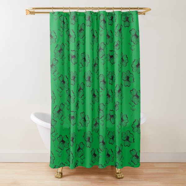 Bright Green Pretty Pansy Shower Curtain