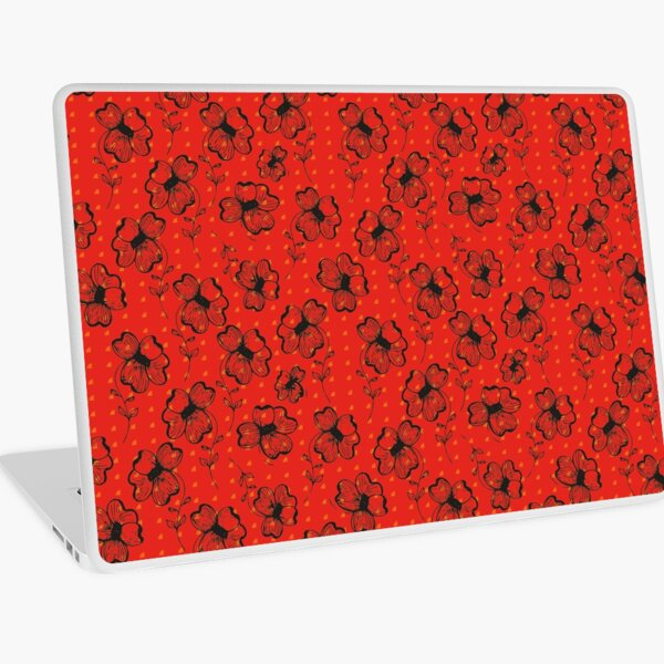 Mandarin Red with Exuberance fleck Pretty Pansy Laptop Skin
