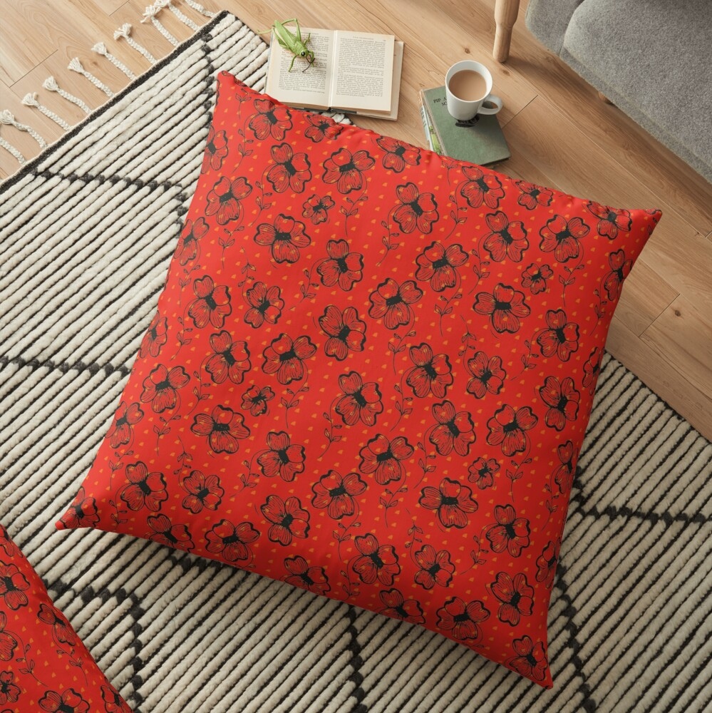 Mandarin Red with Exuberance fleck Pretty Pansy Floor Pillow