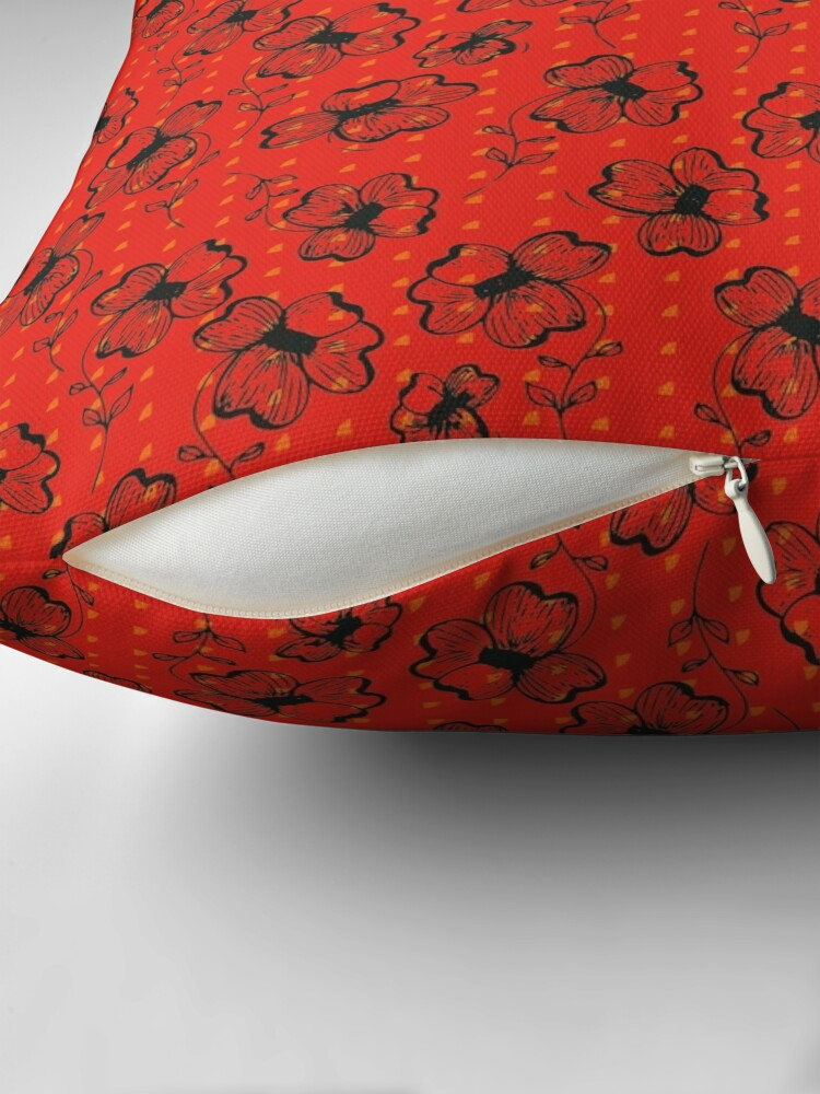 Alternate view of Mandarin Red with Exuberance fleck Pretty Pansy Floor Pillow
