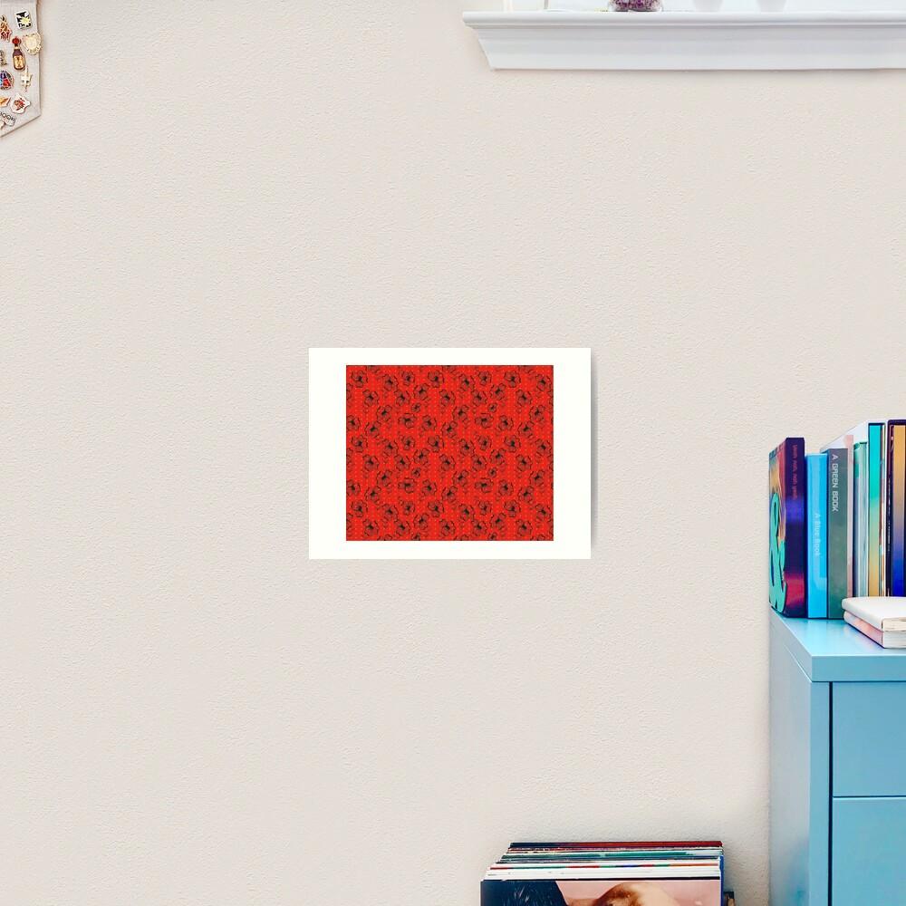 Mandarin Red with Exuberance fleck Pretty Pansy Art Print