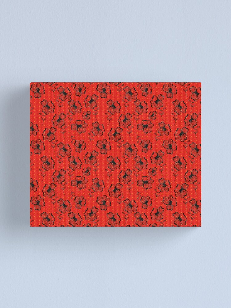 Alternate view of Mandarin Red with Exuberance fleck Pretty Pansy Canvas Print