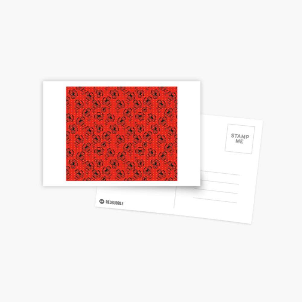 Mandarin Red with Exuberance fleck Pretty Pansy Postcard