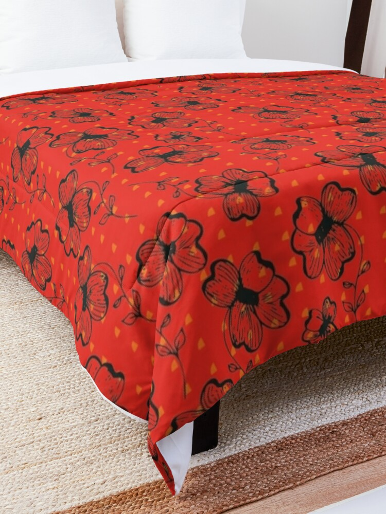 Alternate view of Mandarin Red with Exuberance fleck Pretty Pansy Comforter