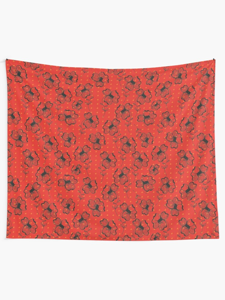 Alternate view of Mandarin Red with Exuberance fleck Pretty Pansy Tapestry