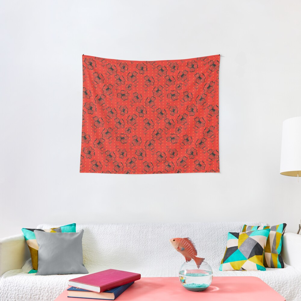 Mandarin Red with Exuberance fleck Pretty Pansy Tapestry