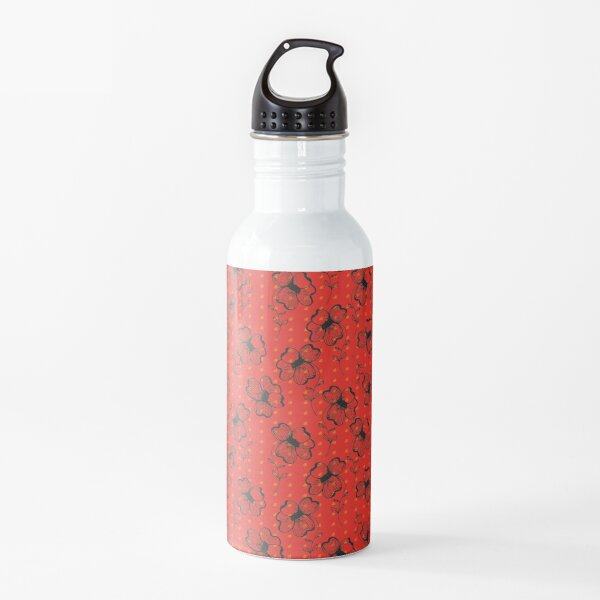 Mandarin Red with Exuberance fleck Pretty Pansy Water Bottle