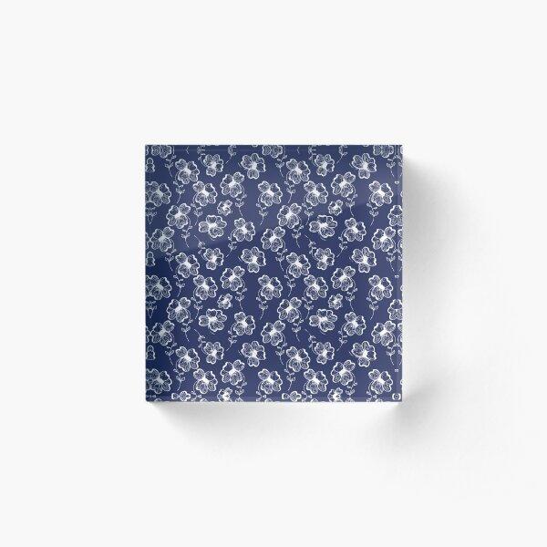 True Blue Pretty Pansy Acrylic Block