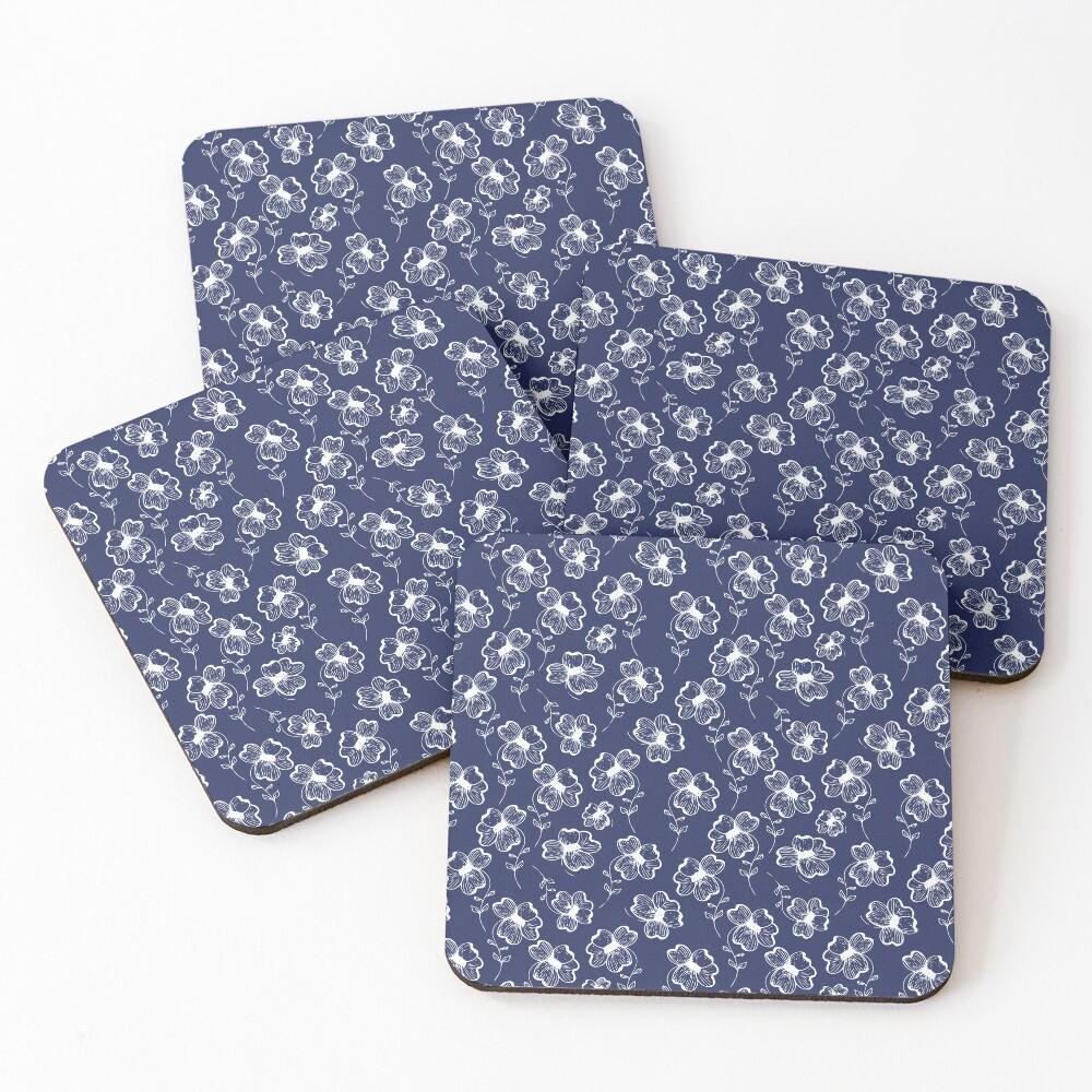 True Blue Pretty Pansy Coasters (Set of 4)