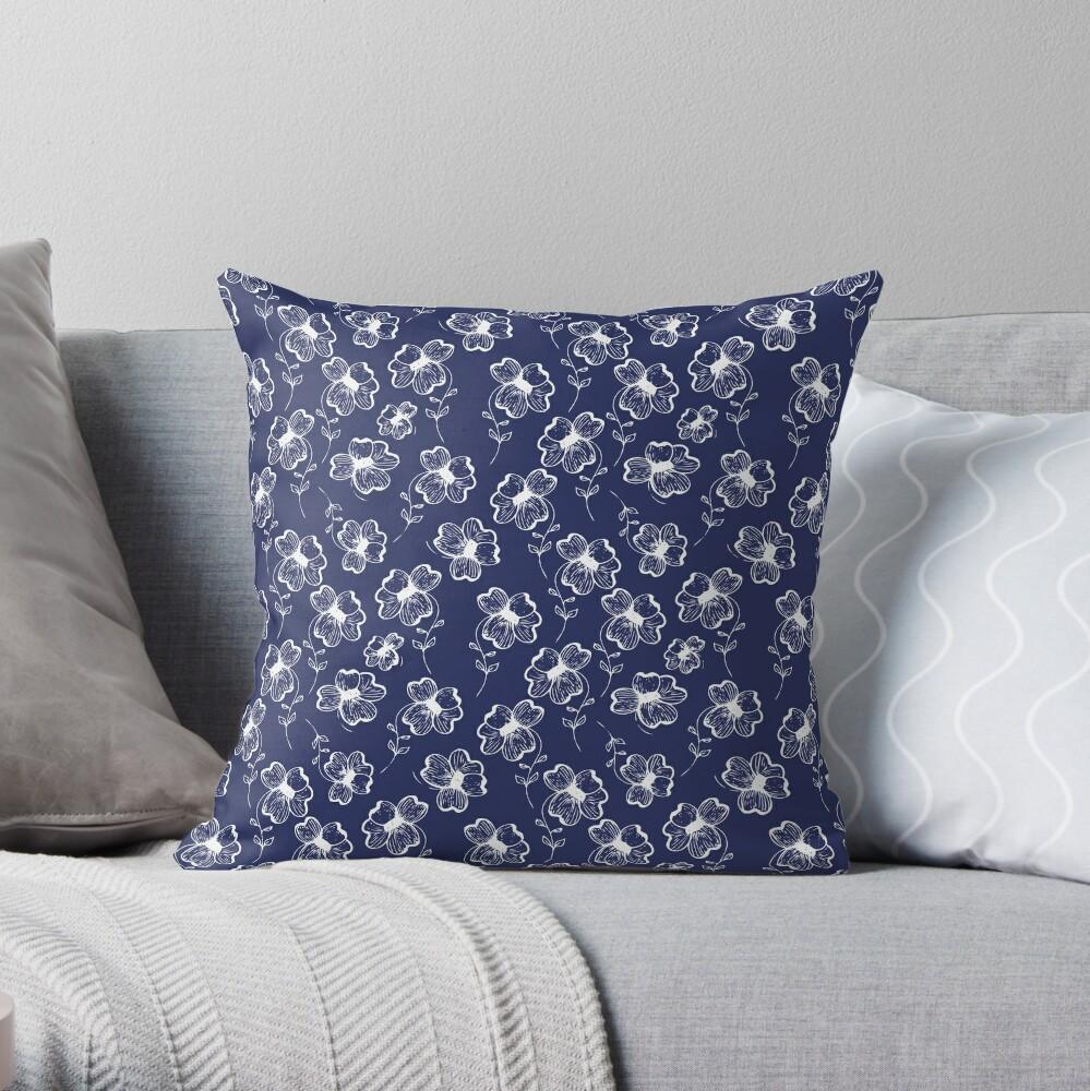 True Blue Pretty Pansy Throw Pillow