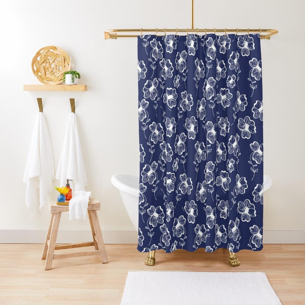 True Blue Pretty Pansy Shower Curtain