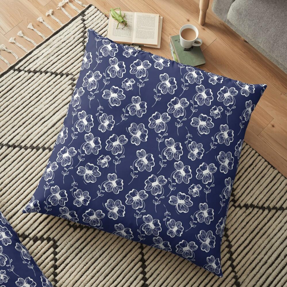 True Blue Pretty Pansy Floor Pillow