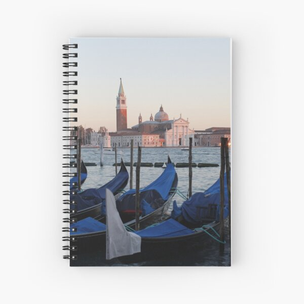 Sunset with Blue Gondolas, Venice Italy Spiral Notebook