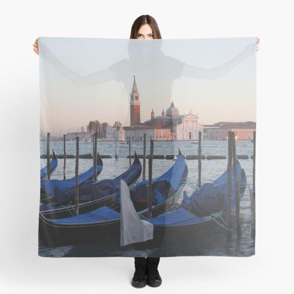Sunset with Blue Gondolas, Venice Italy Scarf