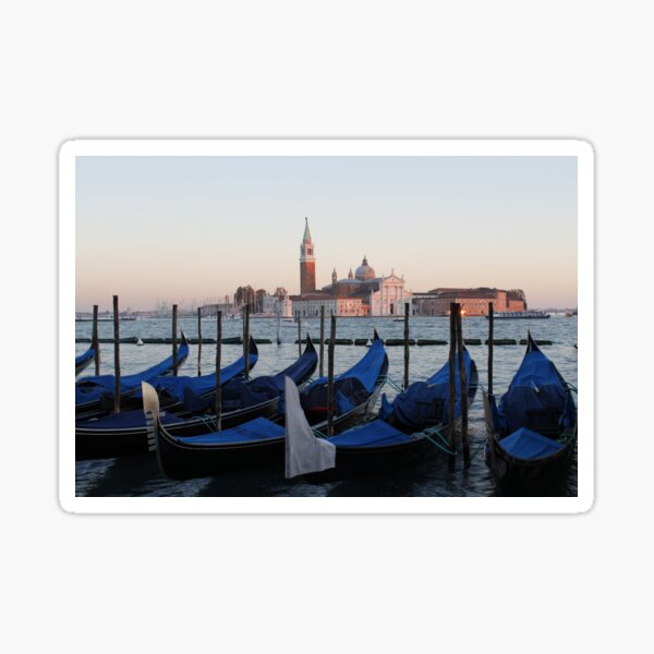 Sunset with Blue Gondolas, Venice Italy Sticker