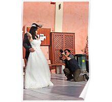 Wedding Photographer On His Knee Poster