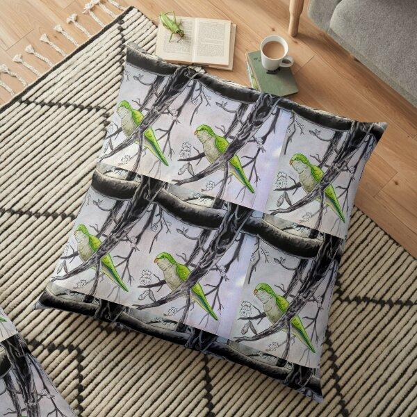 Stereogram challenge of Lorenzo the parakeet, Ibiza Floor Pillow