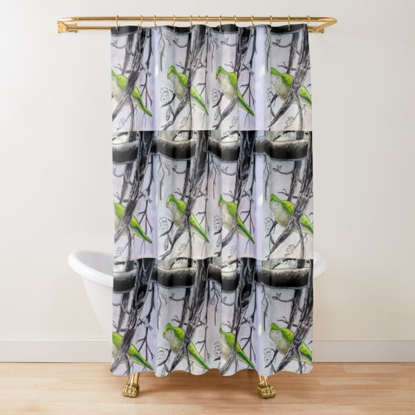 Stereogram challenge of Lorenzo the parakeet, Ibiza Shower Curtain