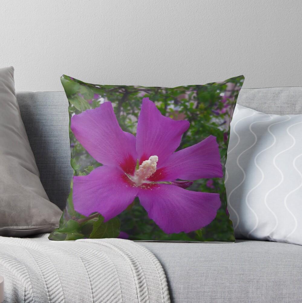 Purple Hibiscus Throw Pillow