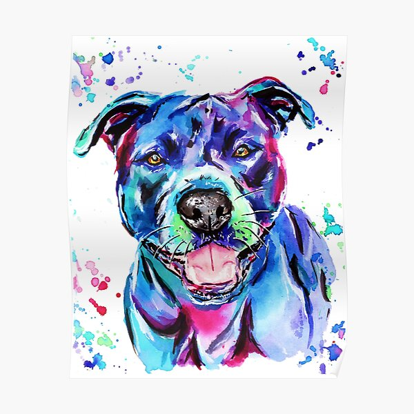 Watercolour Staffy Poster