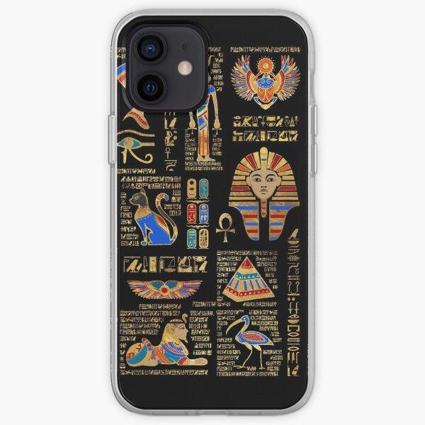 Egyptian hieroglyphs and deities on black iPhone Soft Case
