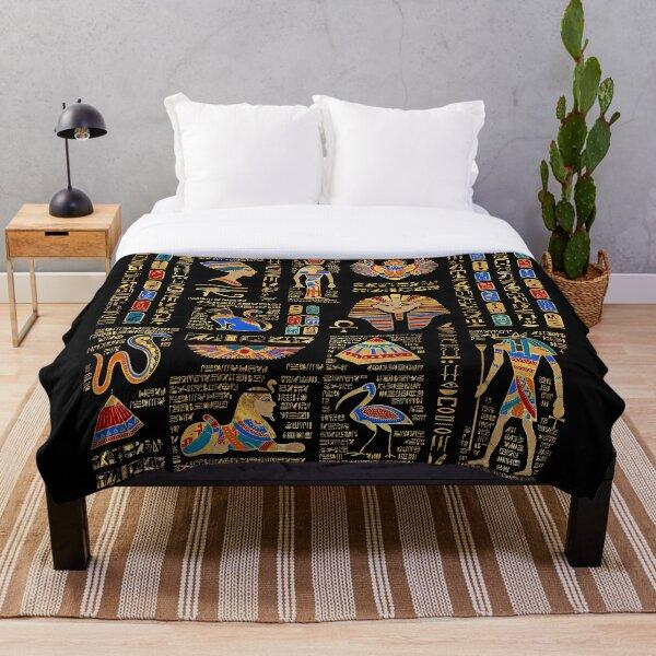 Egyptian hieroglyphs and deities on black Throw Blanket