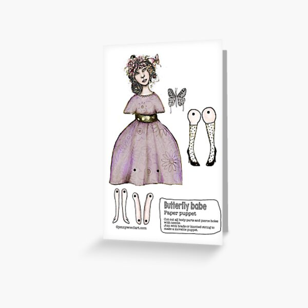 Butterly girl articulated puppet card    www.jennywoodart.com/paper-puppets Greeting Card