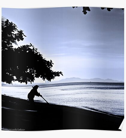 Woman Sweeping Beach Poster