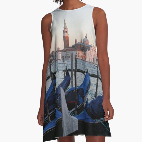 Sunset with Blue Gondolas, Venice Italy A-Line Dress