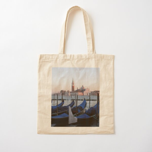 Sunset with Blue Gondolas, Venice Italy Cotton Tote Bag