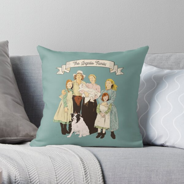 Colorful The Ingalls family in the Little house on the prairie Throw Pillow
