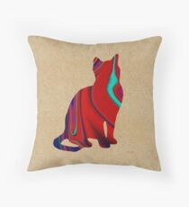 Red Sitting Textured Cat Throw Pillow