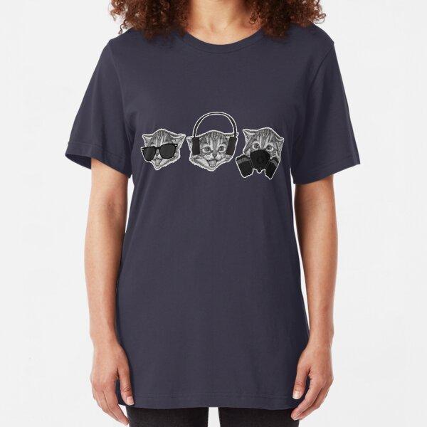 Three Wise Cats, Meme Funny Viral Slogan Slim Fit T-Shirt