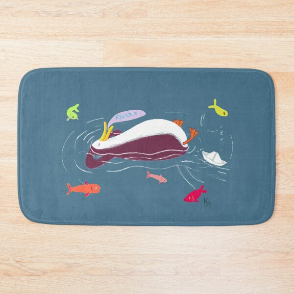 Illustration Penguin floats Bath Mat