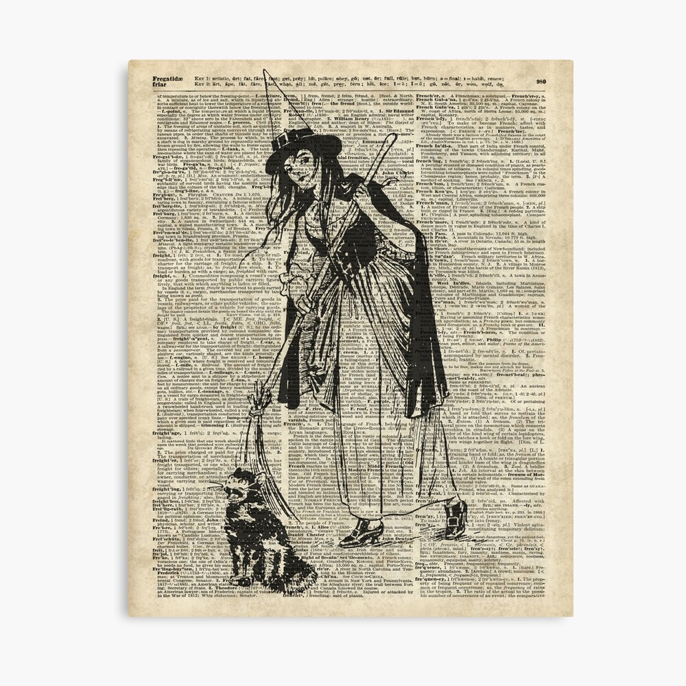 Witch with Broom and Cat Haloowen Party Decoration Gift in Vintage Style Lienzo