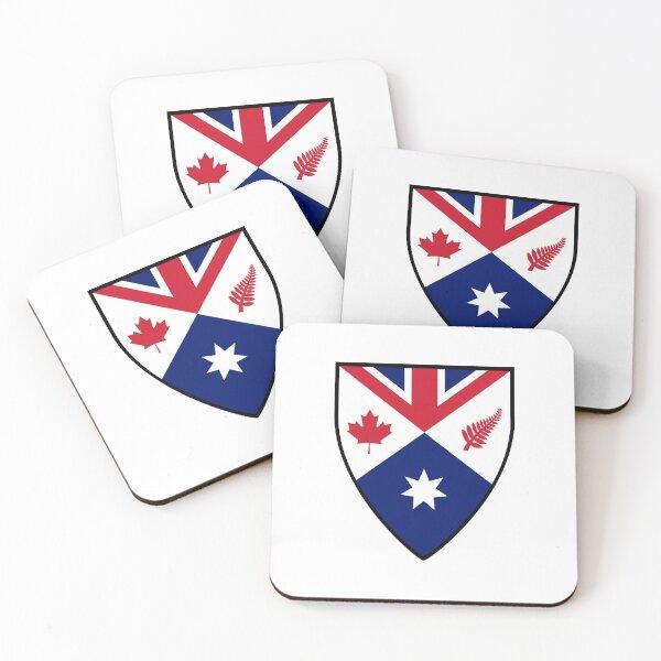 CANZUK: Canada, Australia, New Zealand, United Kingdom (Shield Design) Coasters (Set of 4)